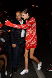 Kaia Gerber shows off legs night out in Paris