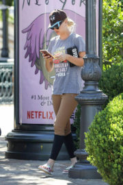 Kaley Cuoco wears Grey T-Shirt & Tights Bottom Out and About in Calabasas