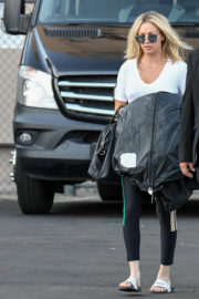 Kaley Cuoco wears White Top & Tights Bottom Out and About in Los Angeles
