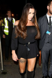 Katie Price shows off Tattos in Short Dress Night Out in London