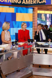 Margot Robbie wears Red Dress on the Set of Good Morning America