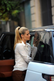 Michelle Hunziker Looking Gorgeous in White Shirt & Brown Pants Out and About in Milan