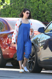 Mila Kunis wears Blue Long Jumpsuits Out and About in Los Angeles