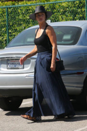 Minka Kelly wears Black Tank Tops & Long Skirt Out and About in Beverly Hills