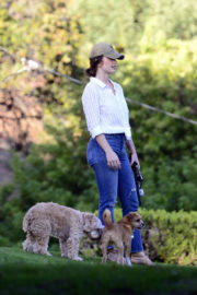 Minka Kelly wears White Shirt & Blue Jeans at Dog Park in West Hollywood