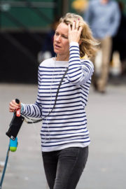 Naomi Watts wears Tight Jeans Makeup Free Out in New York