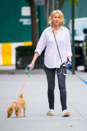 Naomi Watts wears White Shirt & Jeans Out with Her Dogs in New York