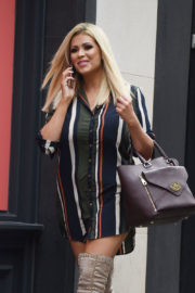Nicola McLean wears Shirts without Pants Out and About in London
