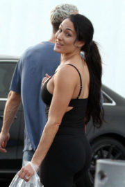 Nikki Bella shows off Bump in Tights Out and About in Los Angeles