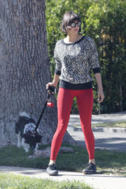 Nina Dobrev wears Red Tights Bottm Out with Her Dog in Los Angeles