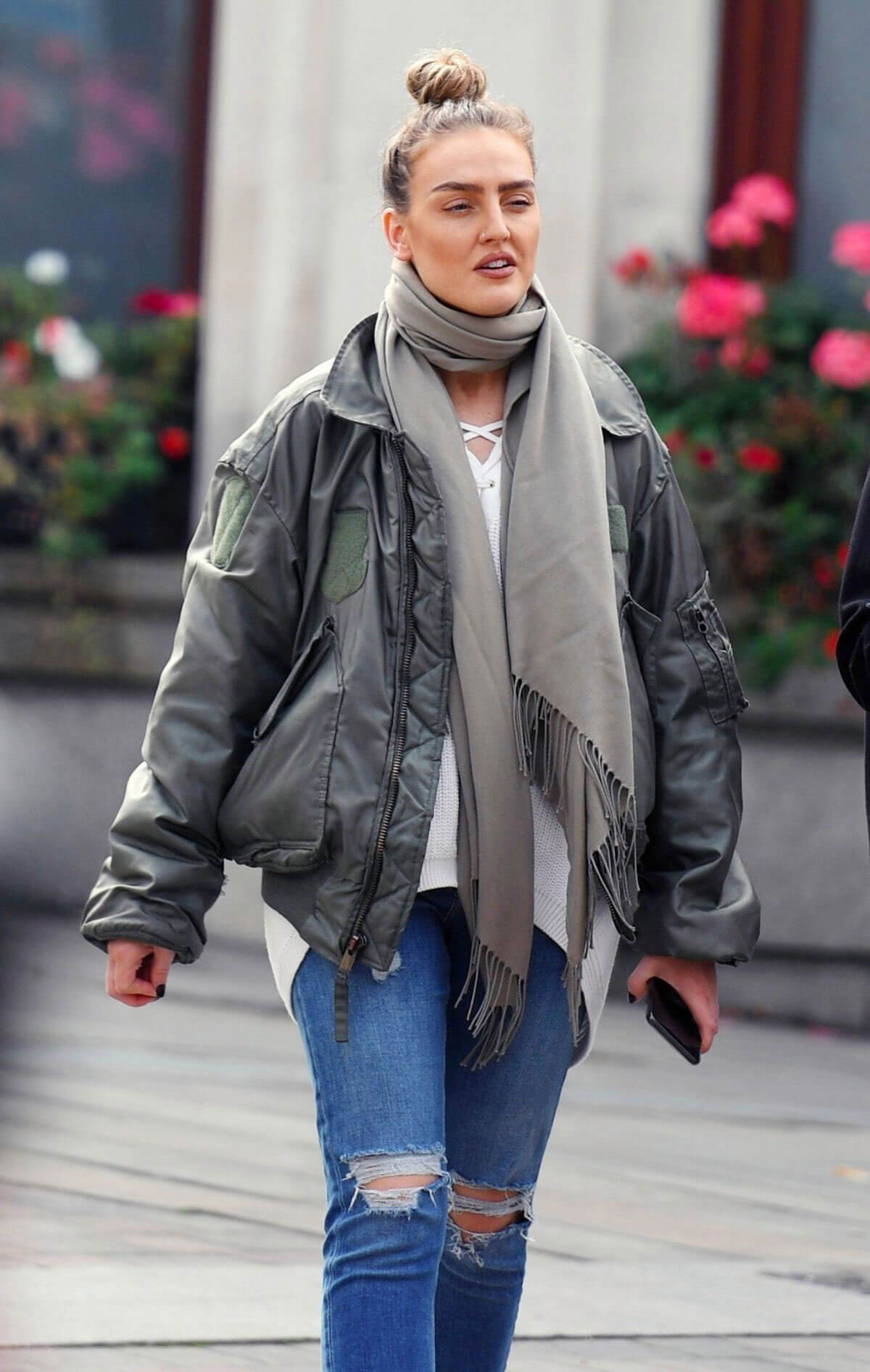 Perrie Edwards wears Ripped Jeans Out Shopping in London