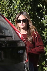 Rachel Bilson wears Maroon Sweatshirt Out in Studio City