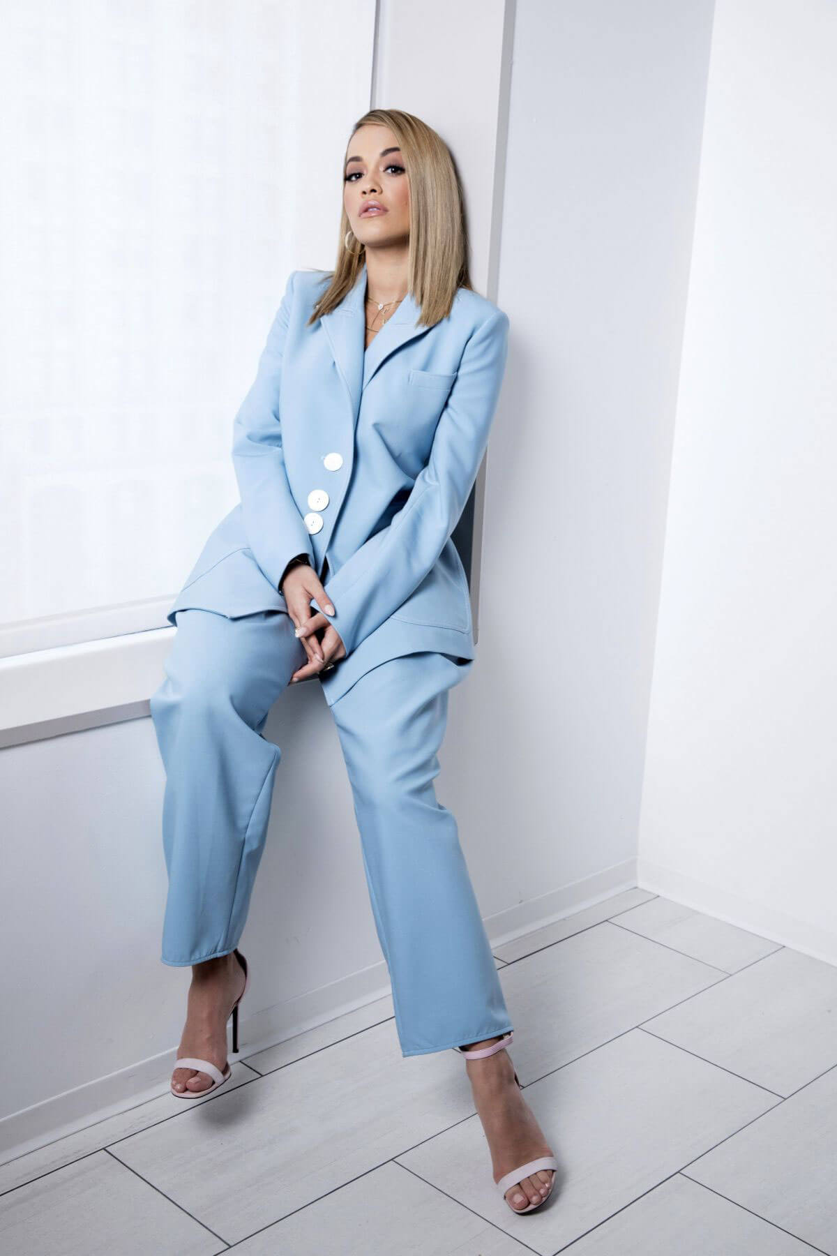 Rita Ora Poses in Sky Blue Suit by Amy Sussman, 2017 Photos