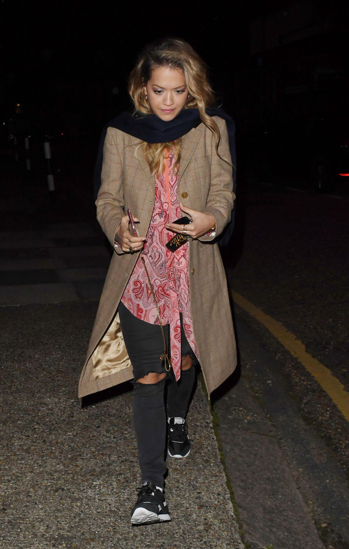 Rita Ora wears Long Jacket with Ripped Jeans Night Out in London