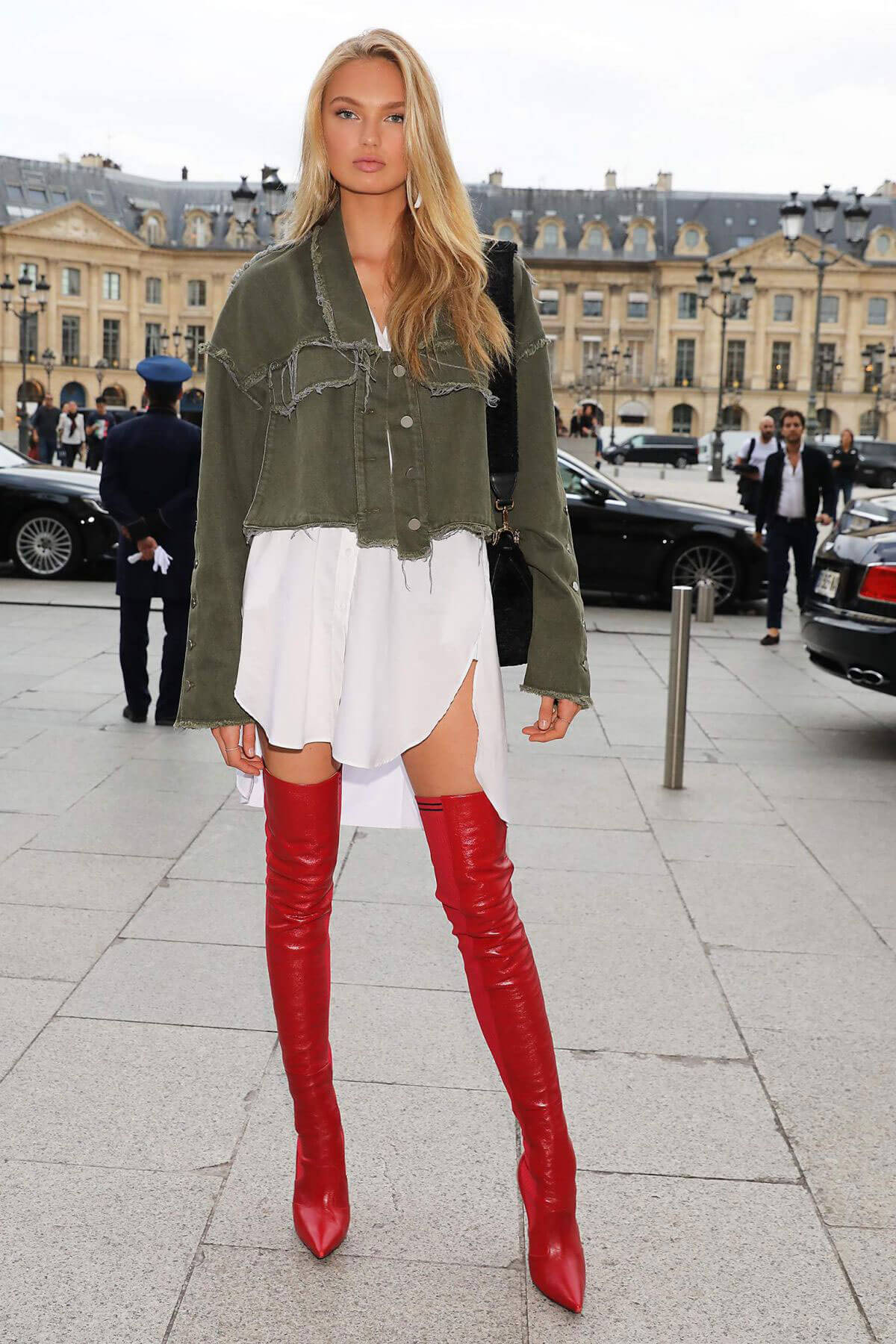 Romee Strijd shows off Lean Legs Out at Paris Fashion Week