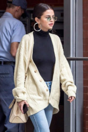 Selena Gomez wears High Neck Top & Jeans Out in New York