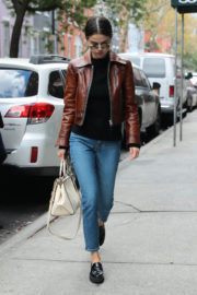 Selena Gomez wears Leather Jacket & Blue Jeans Out and About in New York