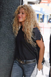 Shakira wears Black Top & Jeans with Long Boots Out and About in Barcelona