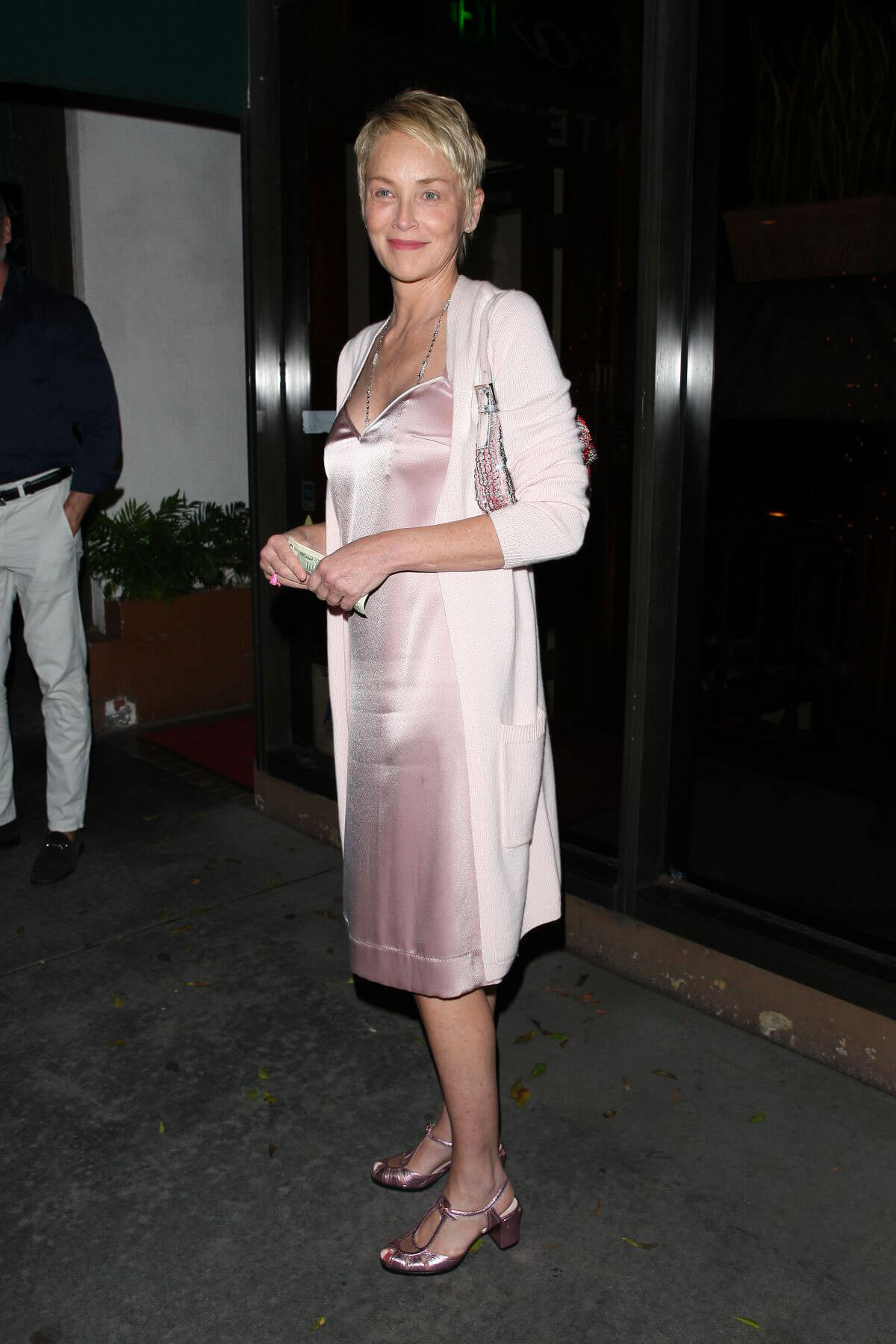 Sharon Stone Stills at Madeo Restaurant in West Hollywood