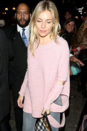 Sienna Miller wears Stylish Pink Sweatshirt Out and About in London