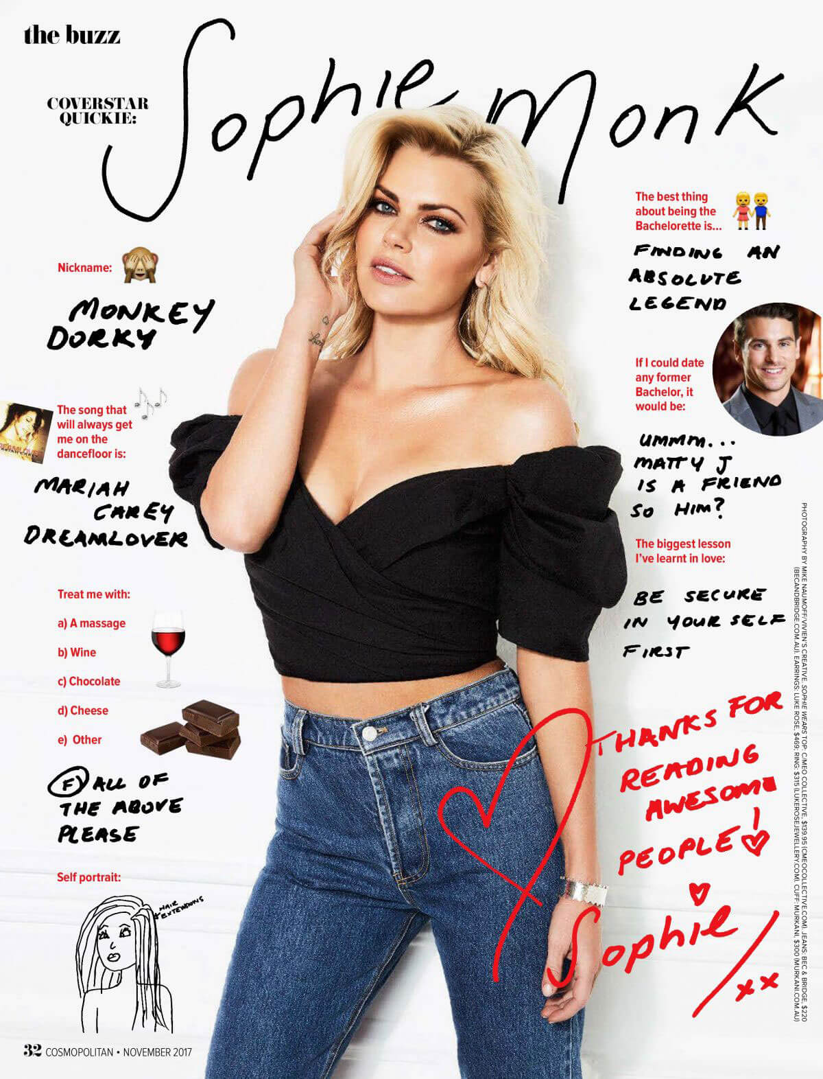 Sophie Monk Poses in Cosmopolitan Magazine, Australia November 2017