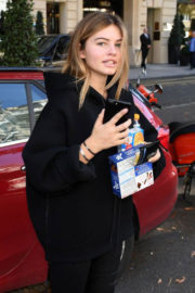 Thylane Blondeau wears black tights Out and About in Paris