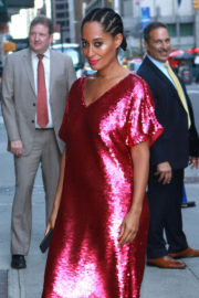 Tracee Ellis Ross wears Red Dress at Late Show with Stephen Colbert in New York
