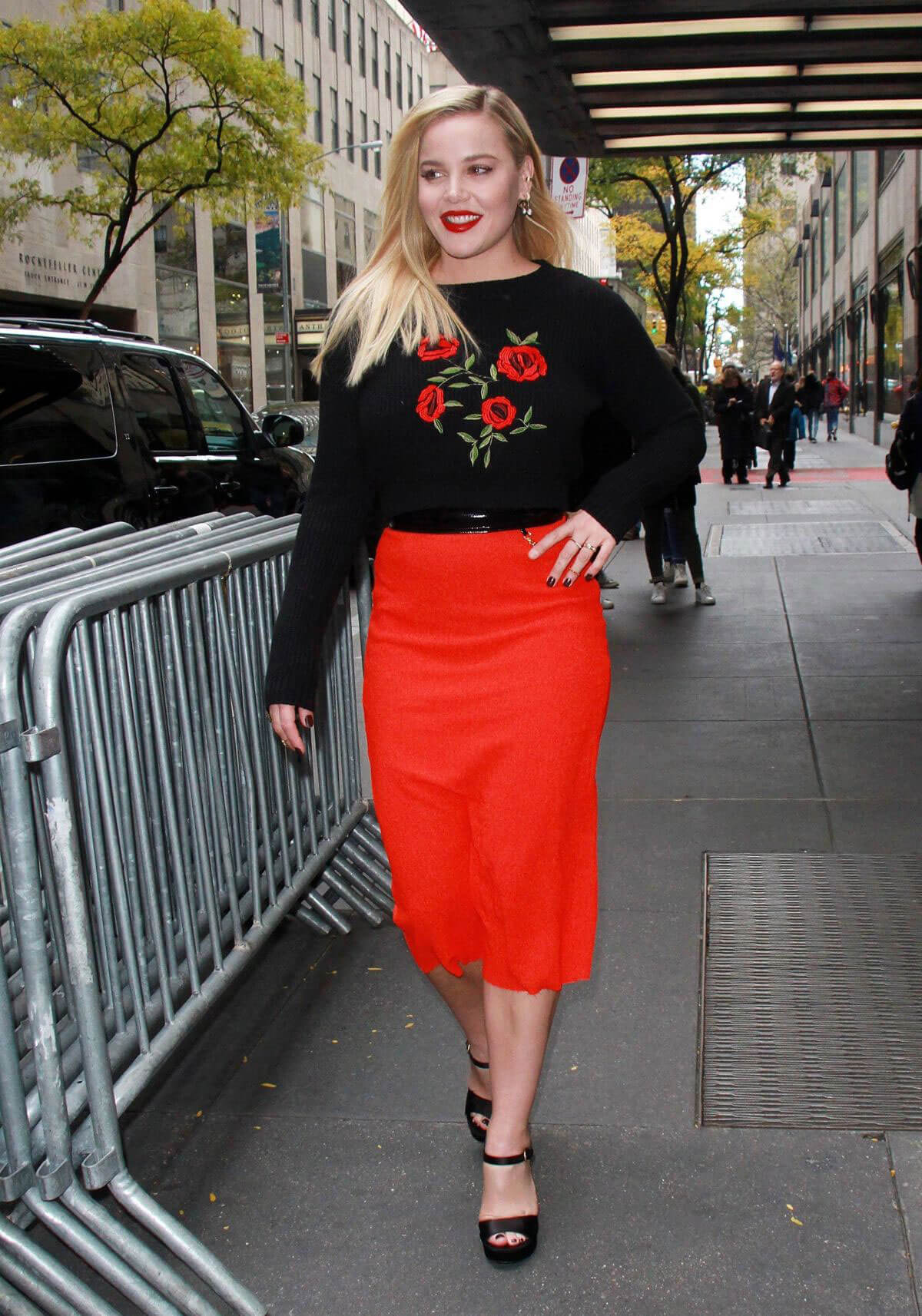 Abbie Cornish wears Black & Red Outfit at New York Live