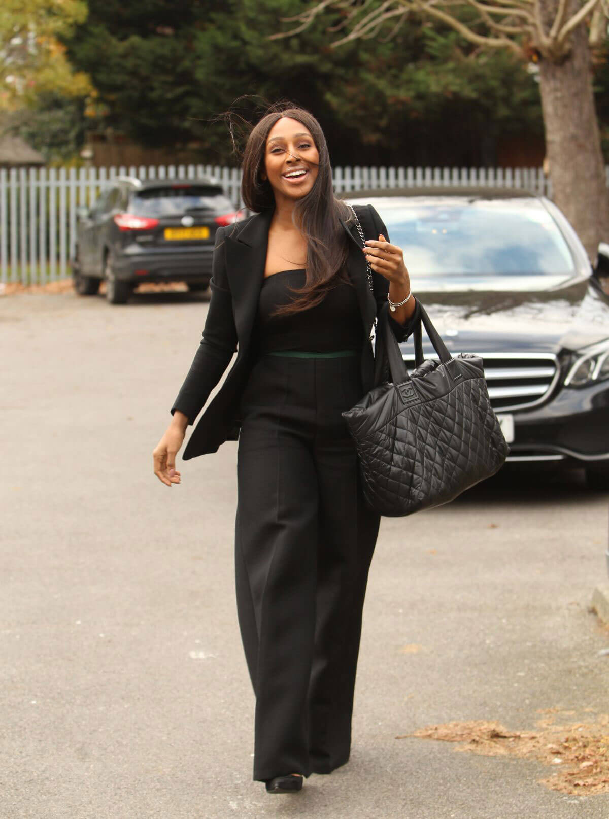 Alexandra Burke in Black Outfit Arrives at a Studio in London