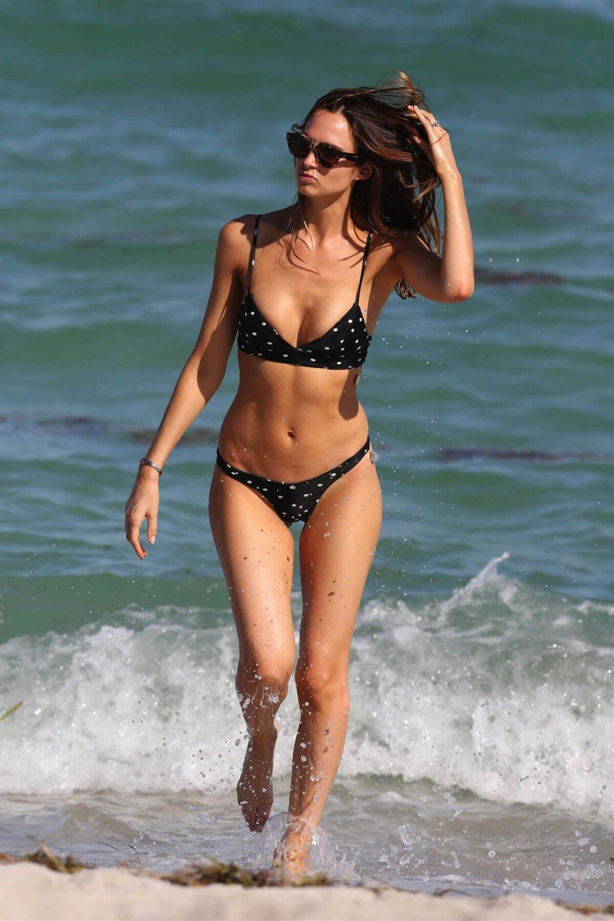 Alice Amelie wears Black Dotted Bikini at a Beach in Miami, November 2017