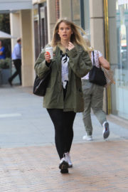 Alice Eve wears Winter Coat & Tights Laves a Salon in Beverly Hills