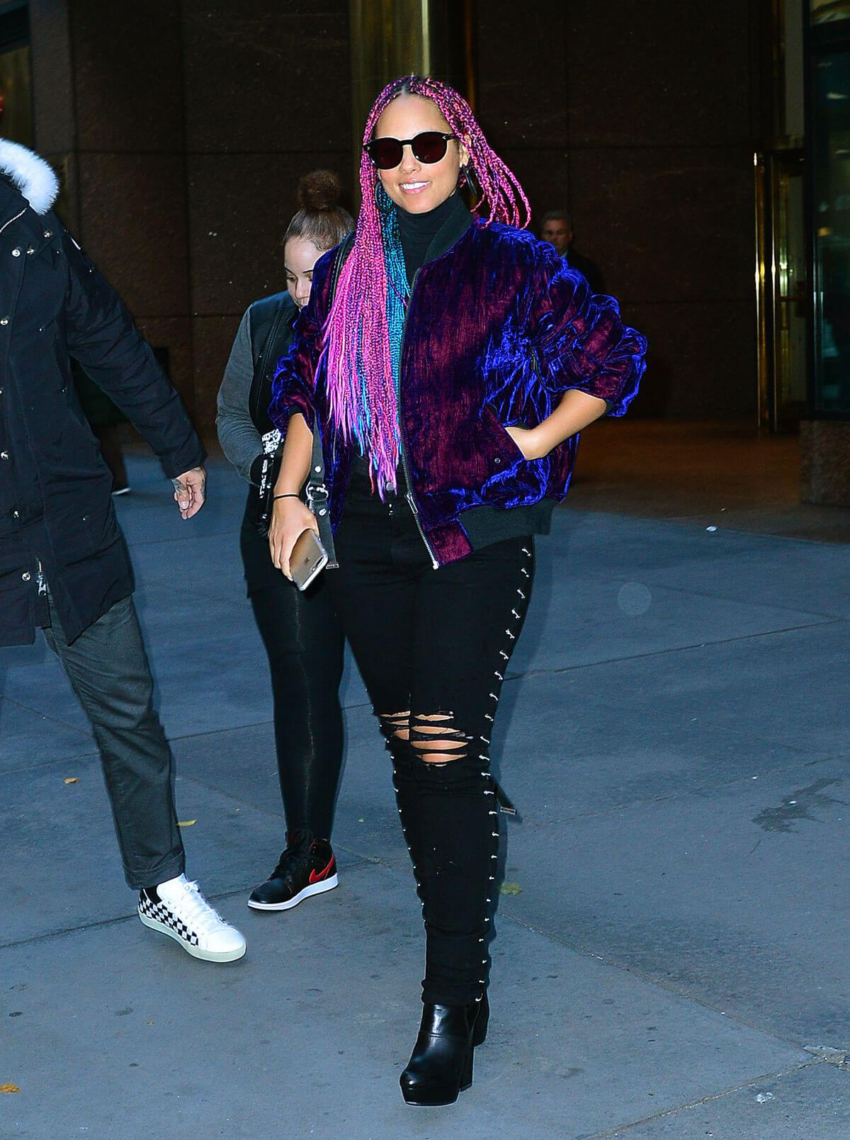 Alicia Keys wears Ripped Jeans Out and About in New York