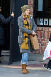 American Actress Ashley Johnson wears Winter Outfit Out and About in New York