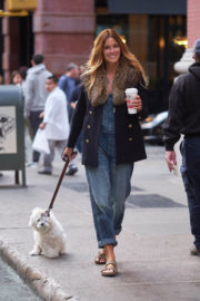 American Author Kelly Bensimon Stills Out with Her Dog in New York