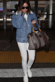 Ashley Tisdale wears Denim Jacket Stills at LAX Airport in Los Angeles