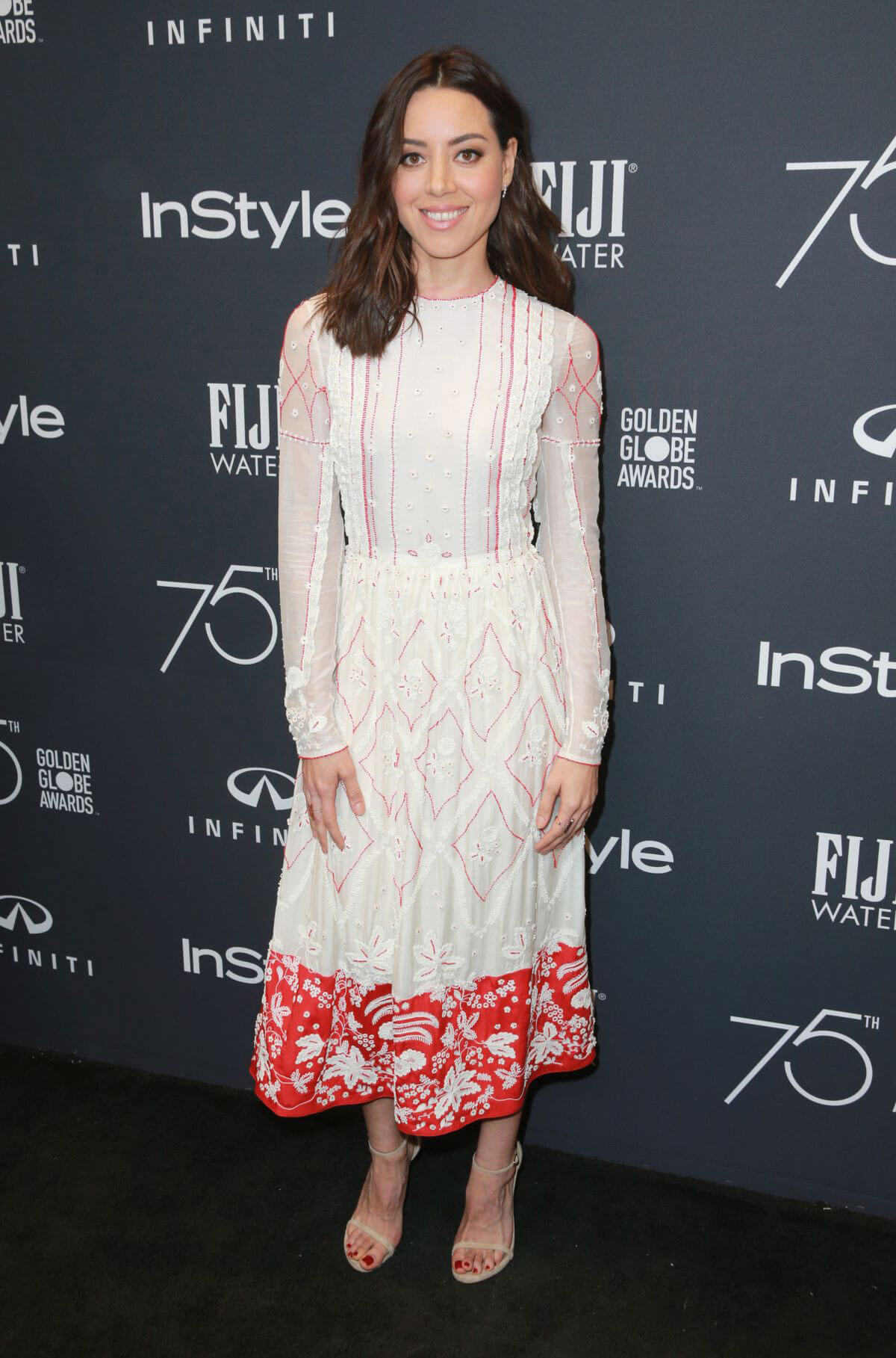 Aubrey Plaza Stills at HFPA & Instyle Celebrate 75th Anniversary of the Golden Globes in Los Angeles