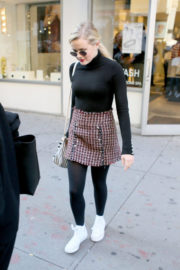 Ava Phillippe wears Black High Neck Top & Tights Leggings Out and About in New York