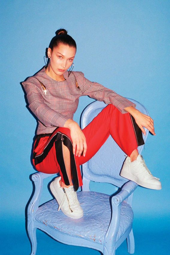 Bella Hadid Poses for Footwear News Magazine, November 2017