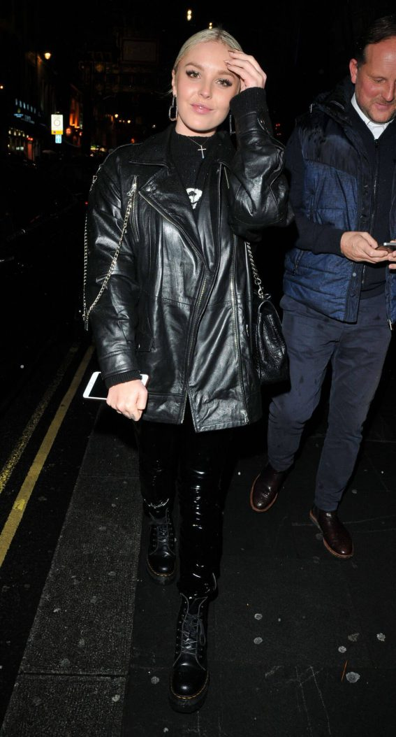 Betsy-Blue English wears Black Leather Jacket at Launch of Perception at W in London