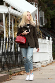 Bria Vinaite wears Brown Winter Coat & Jeans Out for Coffee in Brooklyn