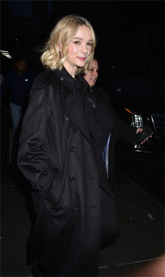 Carey Mulligan wears Black Outfit Night Out in New York