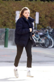 Chloe Moretz wears Fall Coat & Tight Pants Out and About in Toronto