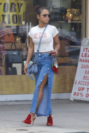 Christina Milian wears Tight Tee & Cut Jeans Out in West Hollywood
