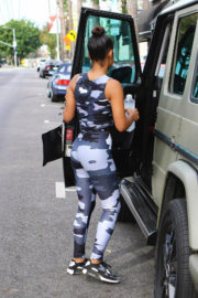 Christina Milian wears Zebra Outfit Leaves a Gym in Los Angeles