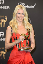 Claudia Schiffer wears Red Dress at Bambi Awards 2017 in Berlin