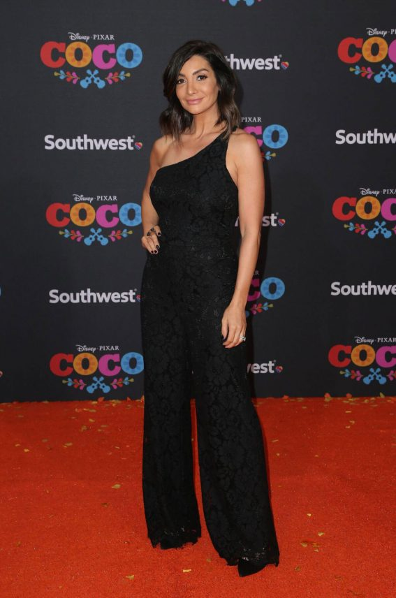 Courtney Laine Mazza wears Black Stylish Jumpsuit at Coco Premiere in Los Angeles