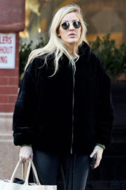 Ellie Goulding wears Black Jacket & Tights Heading to a Gym in London