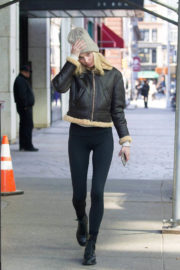 Elsa Hosk wears Black Leather Jacket Black Tights Out and About in New York