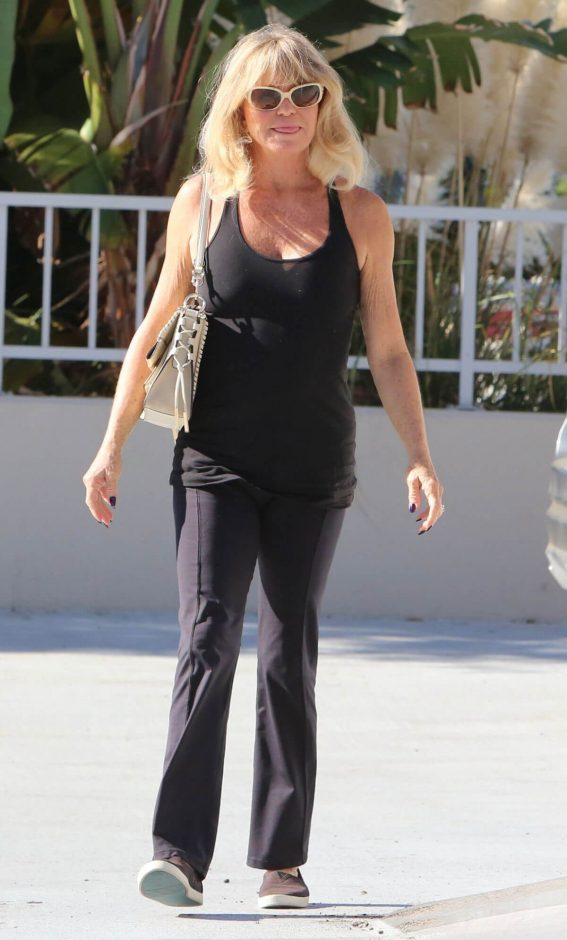 Goldie Hawn wears Black Tank Top & Black Lower Out and About in Santa Monica