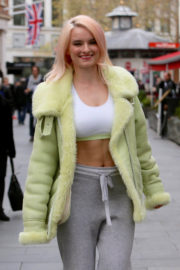 Grace Chatto shows off Toned Physique Arrives at Capital Radio in London